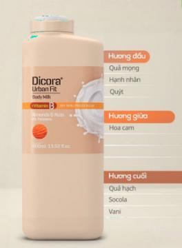 Sữa dưỡng thể Vitamin B hạnh nhân & các loại hạt Dicora Urban Fit